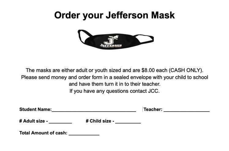 Jefferson Mask Order Form- Masks are $8 for both adult and child sizes.