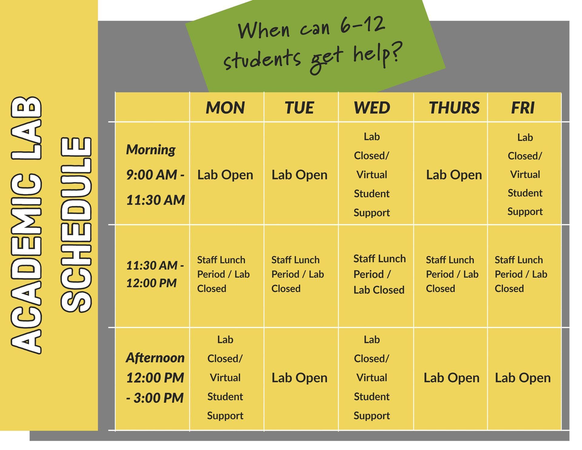 Academic Lab Calendar