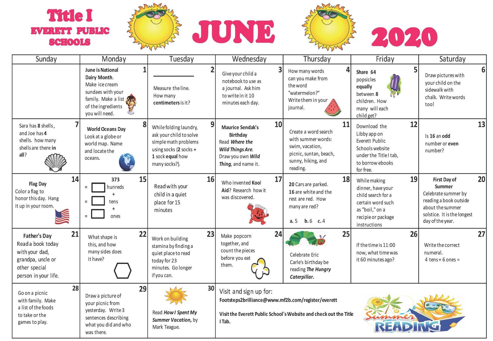 A calendar of activities and summer-themed clip art