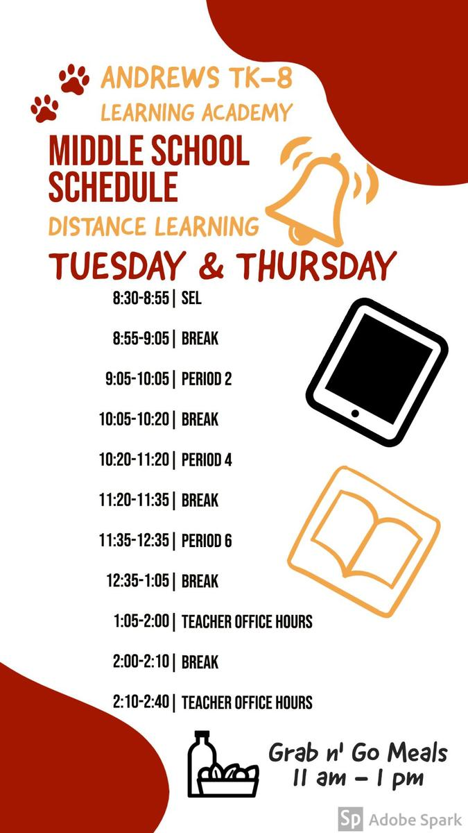 Middle School Schedule Tuesday & Thursday