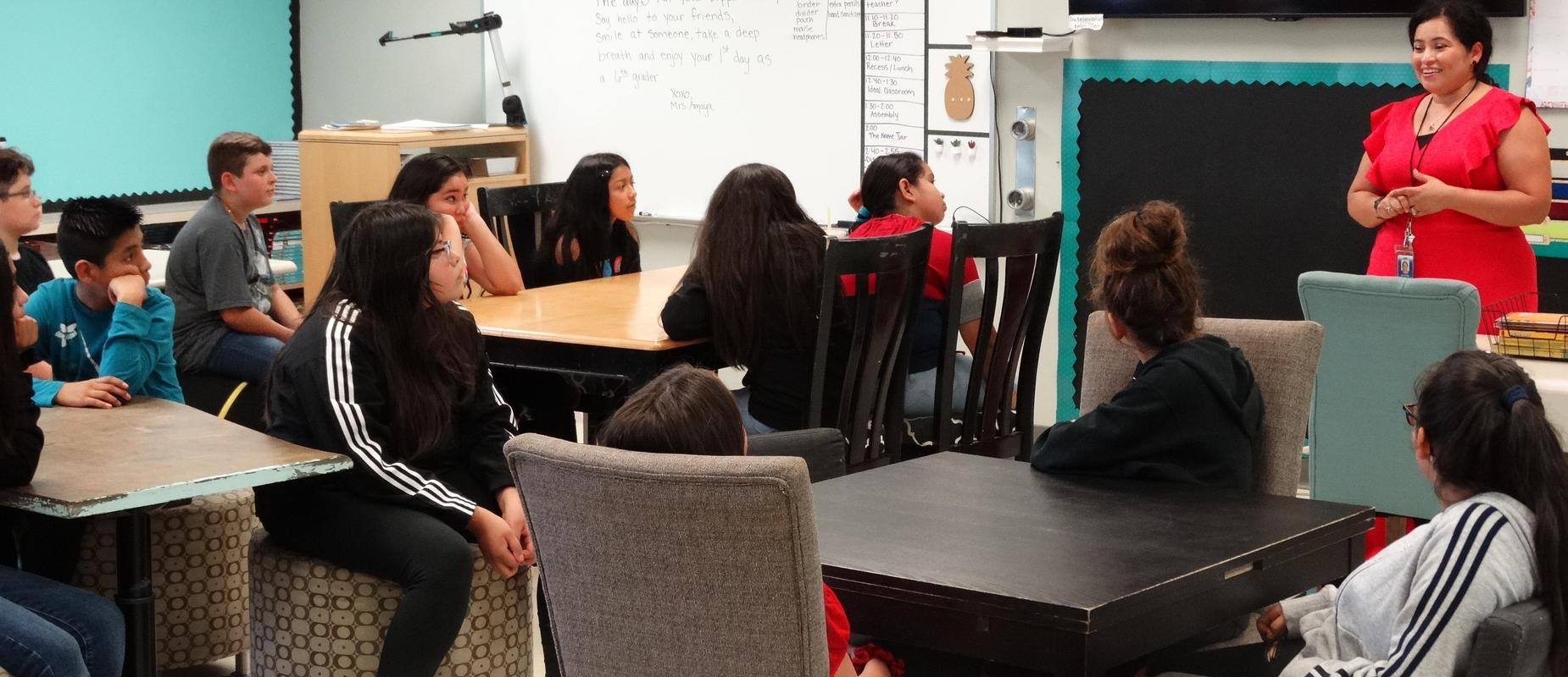 Teacher addressing entire class at Echo Shaw Elementary