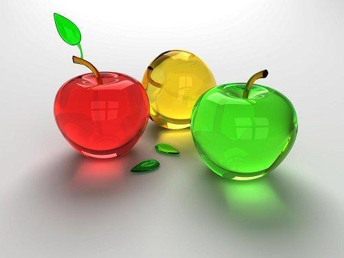 picture of 3d glass apples