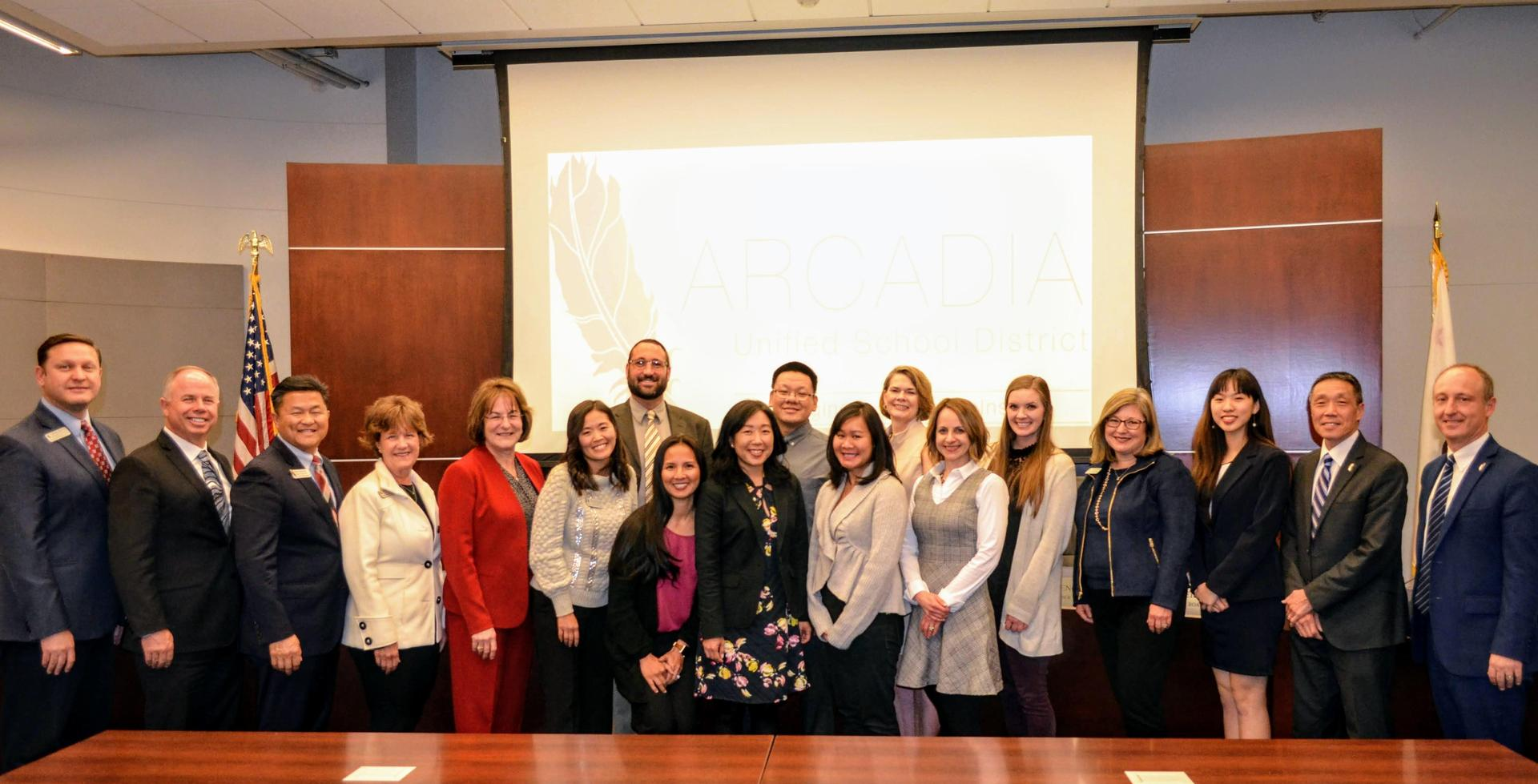 Arcadia Unified School Counselors at Board Meeting