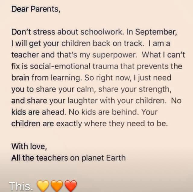Message to parents