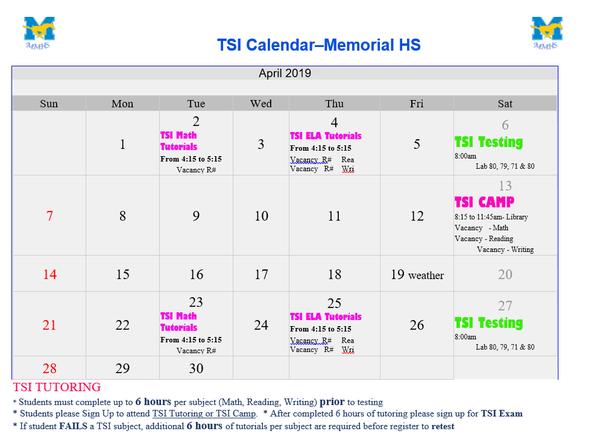 TSI Test Dates - April