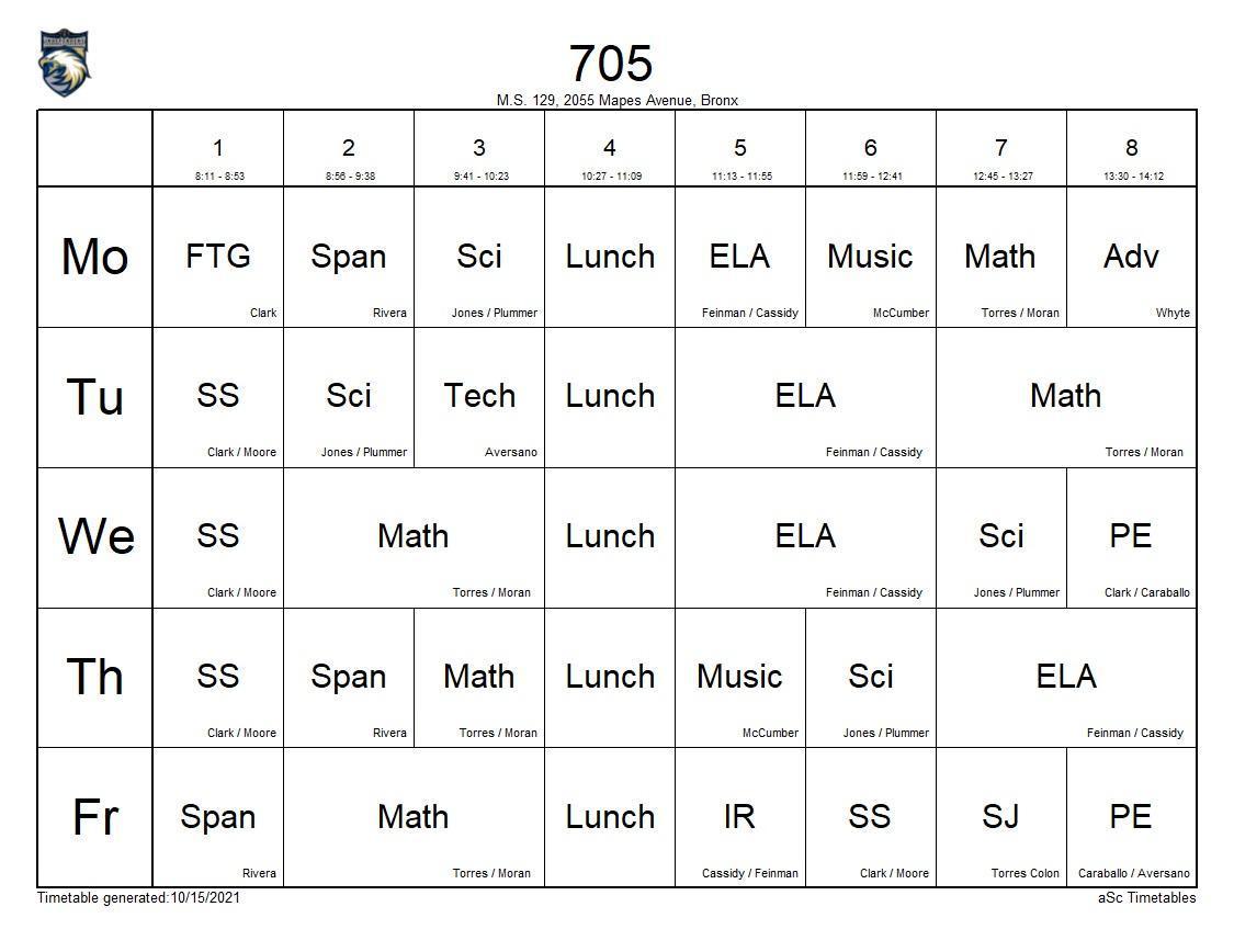 705 class schedule