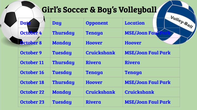 Girl's Soccer & Boy's Volleyball