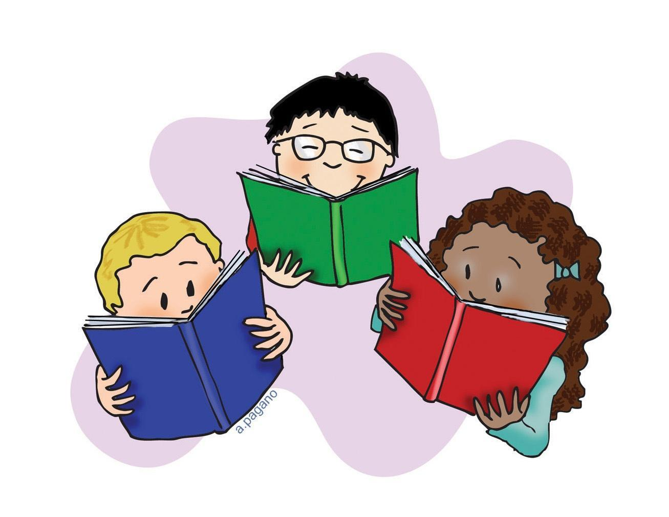 Picture of three students reading a book.