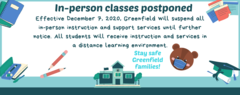 In-person classes postponed until further notice