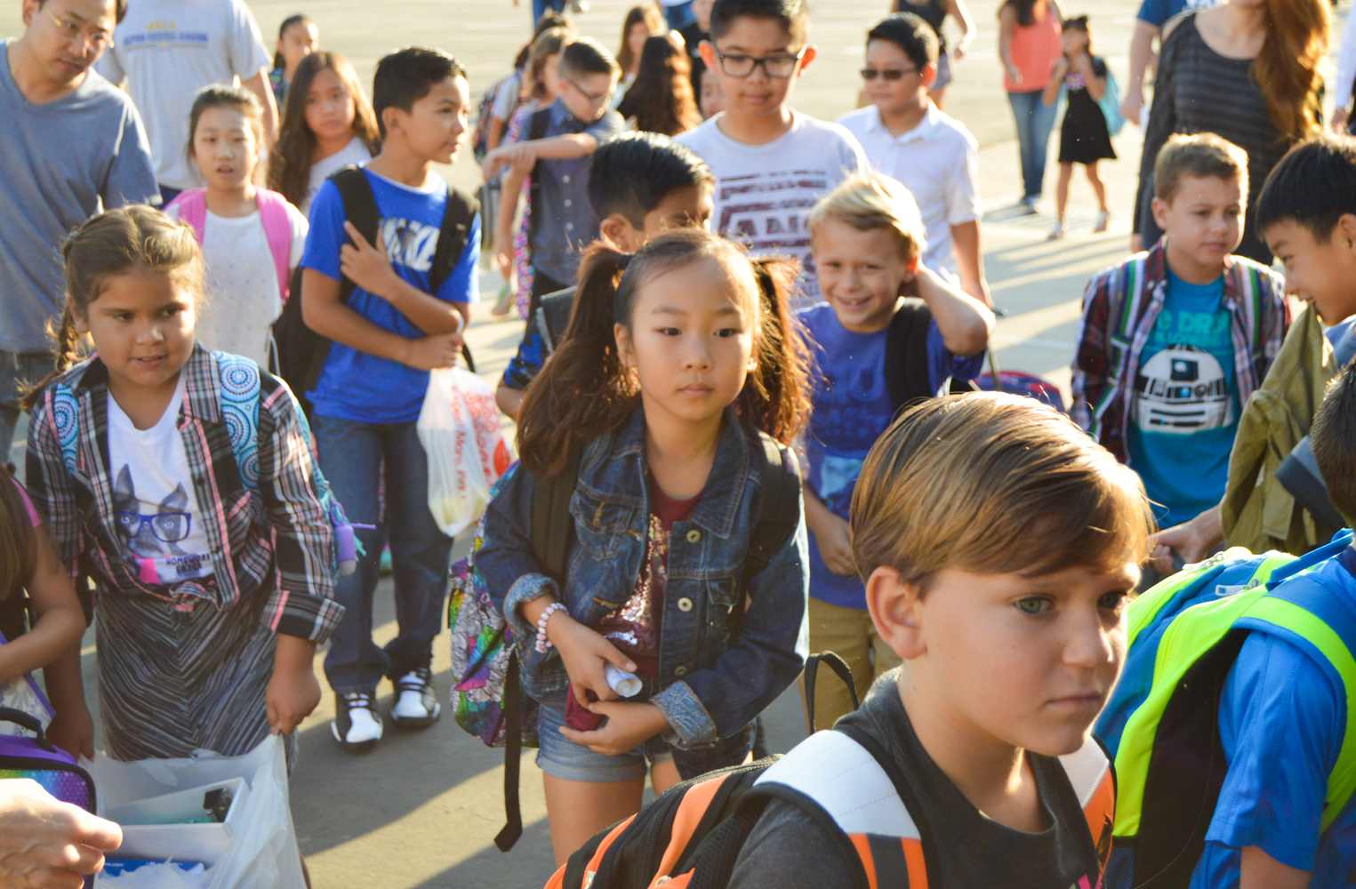 Students excited for the first day of school.