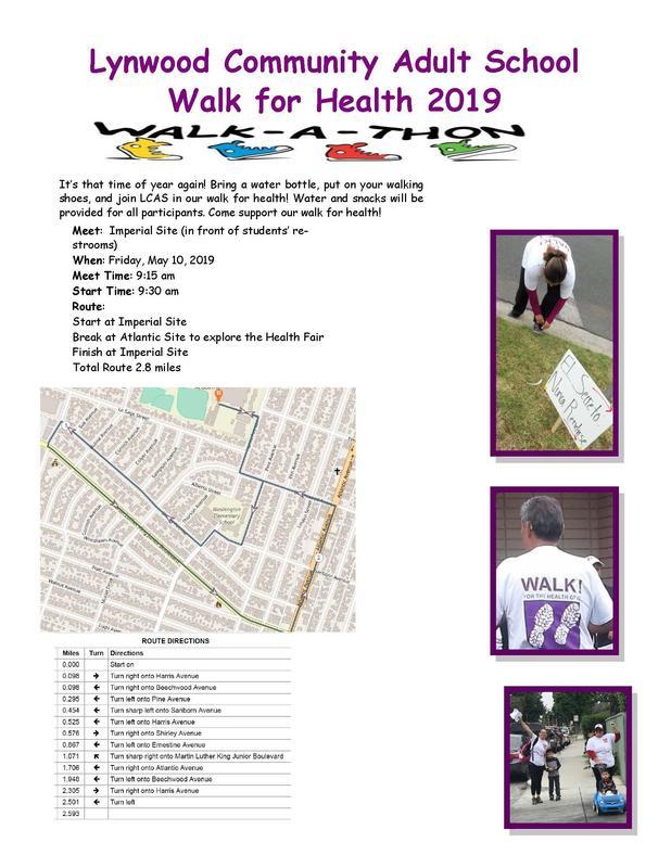 Walk for Health, Friday, May 10, 2019, 9:00 AM - 2:00 PM, at Lynwood Community Adult School, 11277 Atlantic Avenue, Lynwood, CA 90262