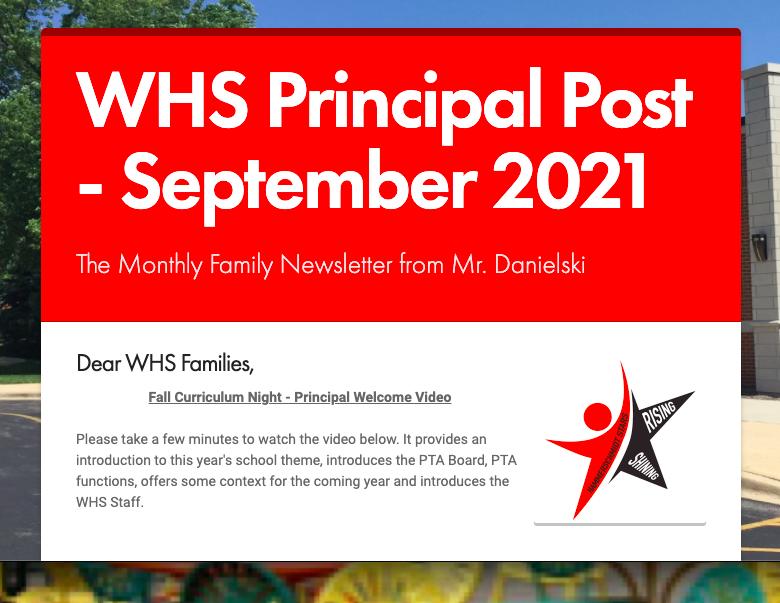 WHS Principal Post Family News-- Sept. 2021 Thumbnail Image
