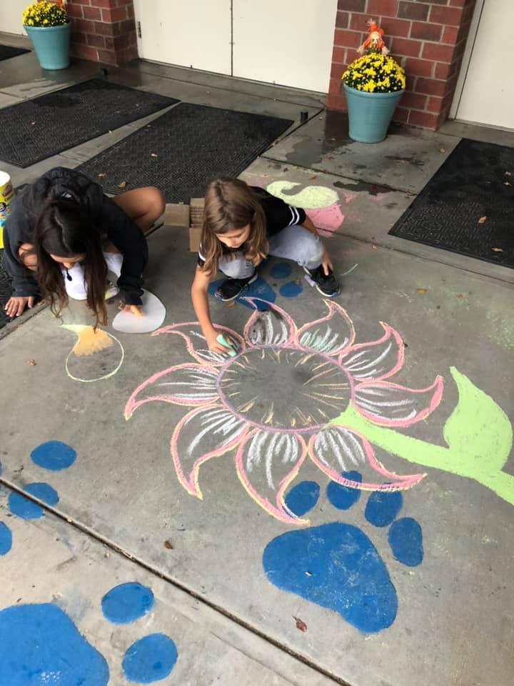5th grade sidewalk art flower