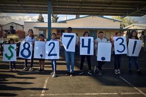 Students display they amount they raised for the program