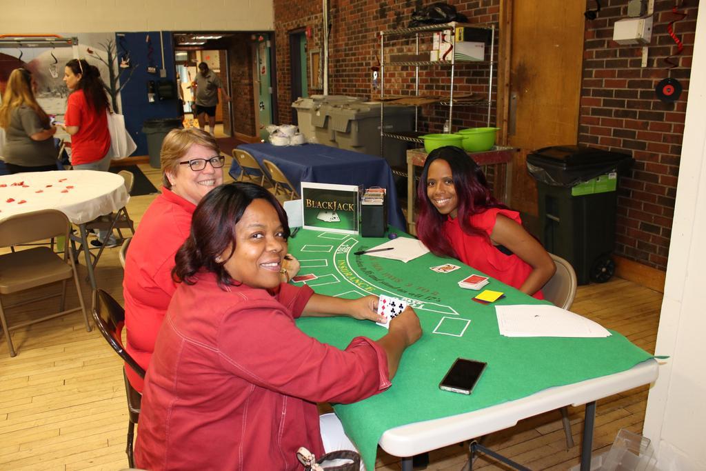 Staff enjoying DSP Week playing cards