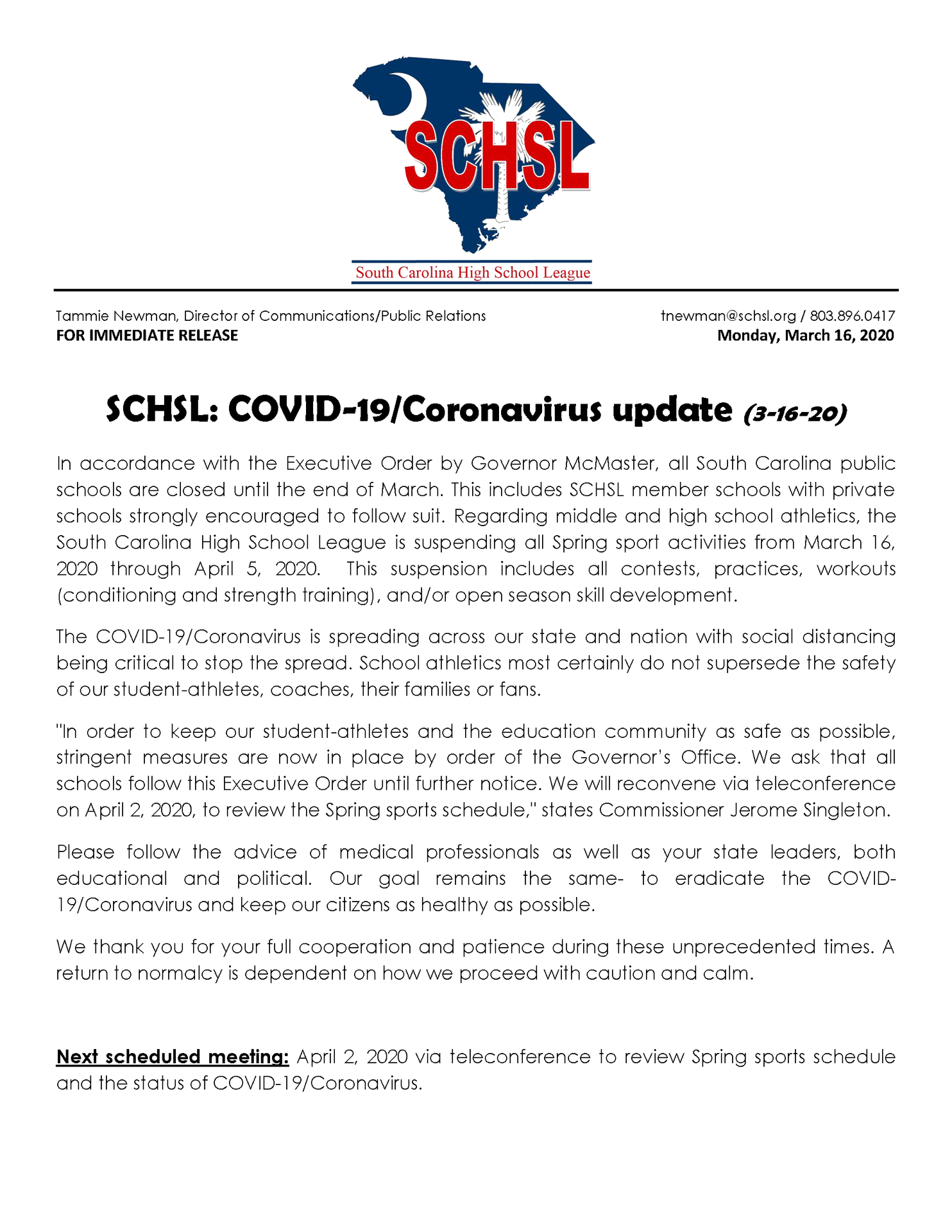 SCHL Spring sports canceled