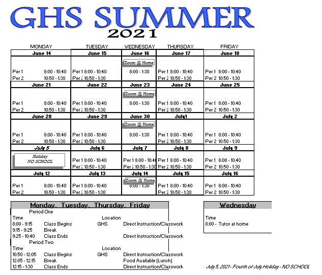 GHS SUMMER SCHOOL - June 14 through July 16 Featured Photo
