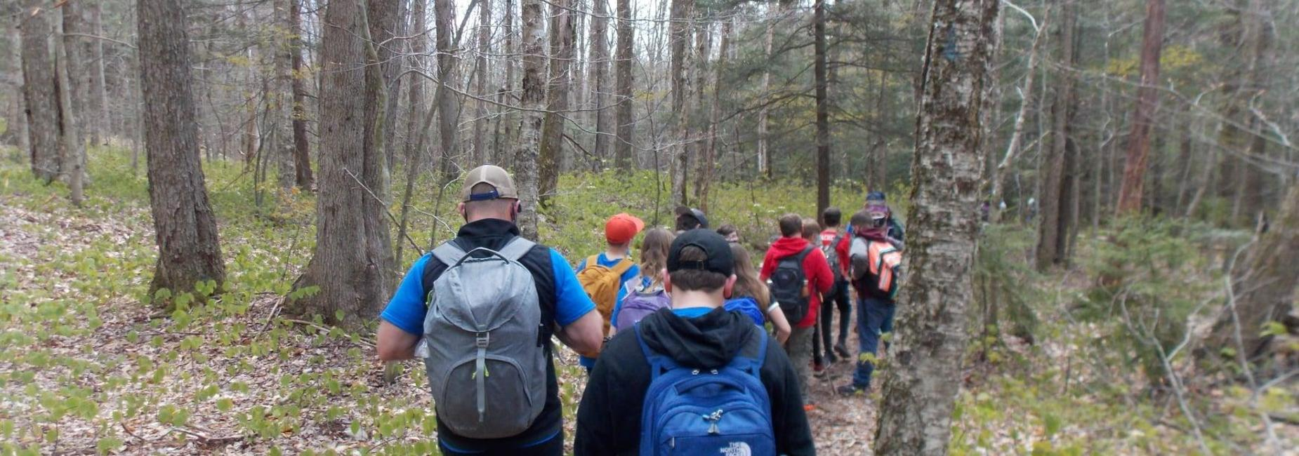 students go for a hike
