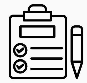 black icon of survey with pencil