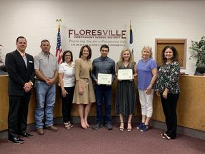 May Students of the Month with the Board of Trustees, Superintendent and Principal