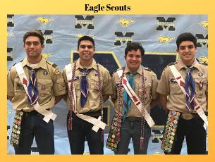 eagle scout students standing