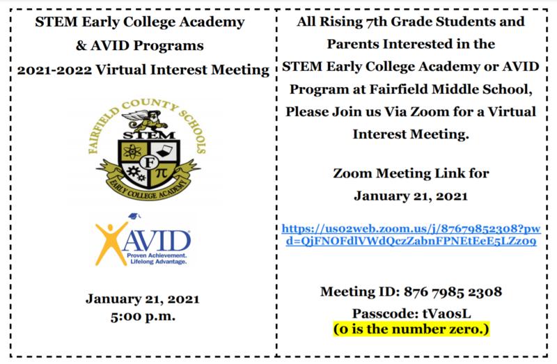 STEM and AVID Interest Meeting Info