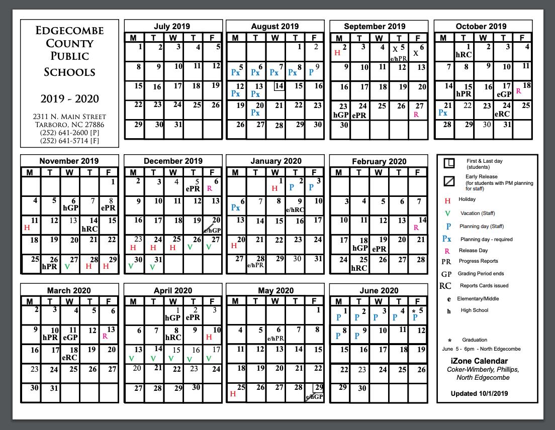 Edgecombe County Public School iZone 2019-2020 Calendar