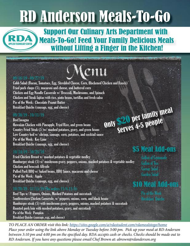 This flyer includes the list of meals RDA offers. The information is in the text of this news article.