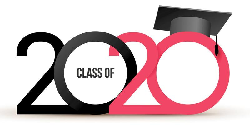 The numbers 2020 in black and red with a graduation cap over the second zero
