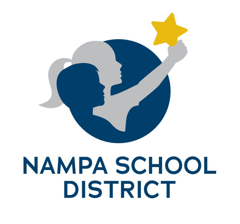 Nampa School District Logo - two children in profile, holding a star
