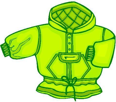 Clip art of lime green hooded childs coat.