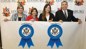 Two Edinburg CISD schools named 2018 National Blue Ribbon Schools. Pictured L-R: ECISD Assistant Superintendent for Curriculum & Instruction Dahlia Z. Guzman, Hargill Elementary School Principal Modesta Segundo, Magee Elementary School Principal Marla Cavazos and ECISD Superintendent Dr. René Gutiérrez.