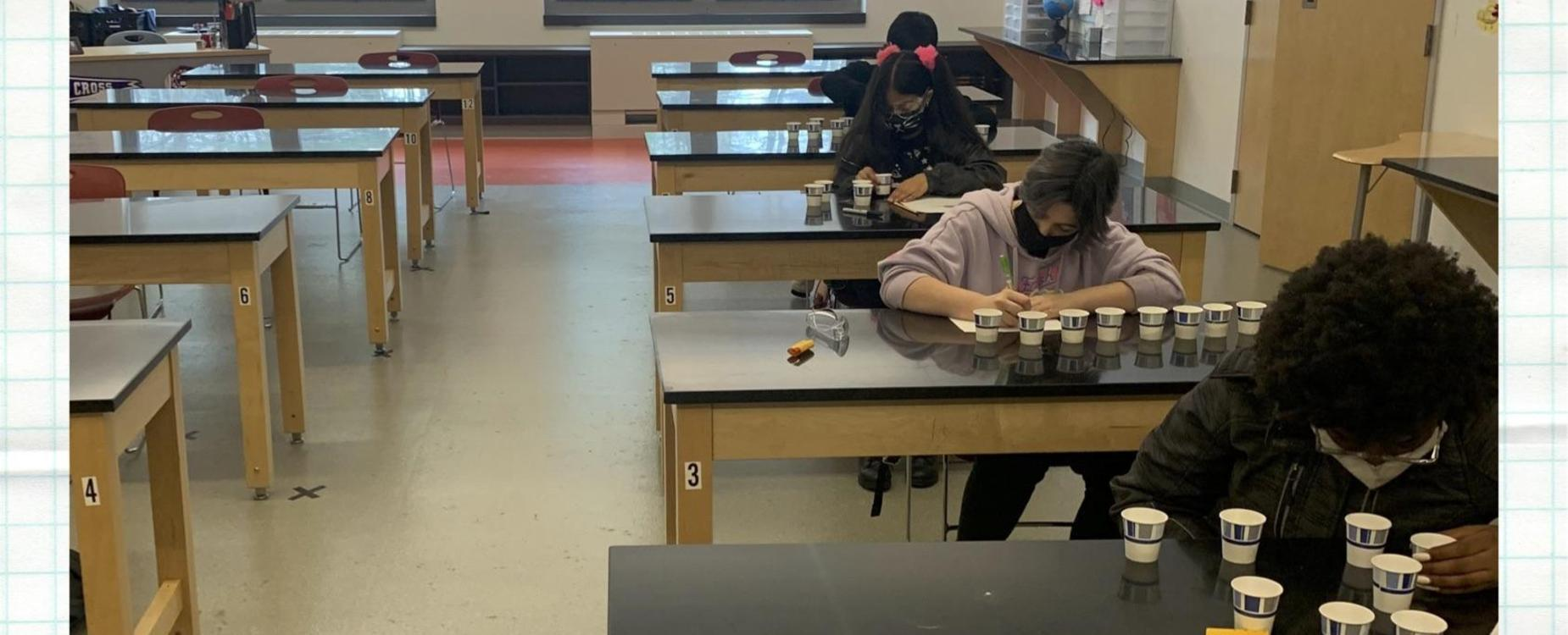 Southbridge Middle School students work on a science project