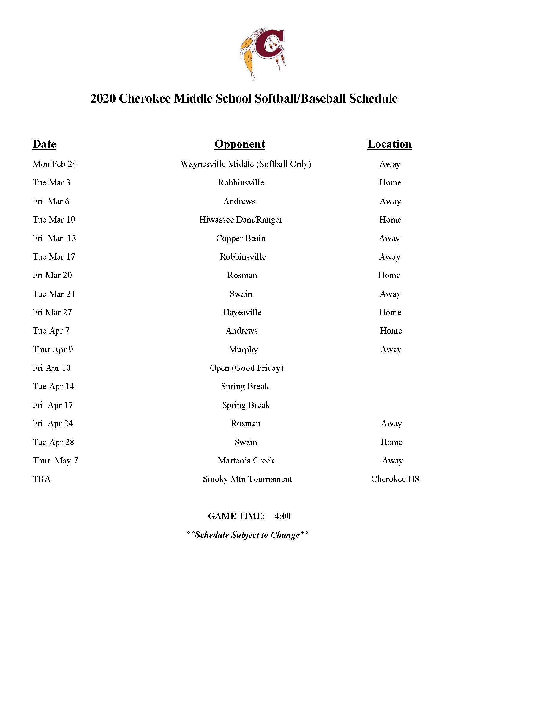 2020 CMS Baseball Schedule