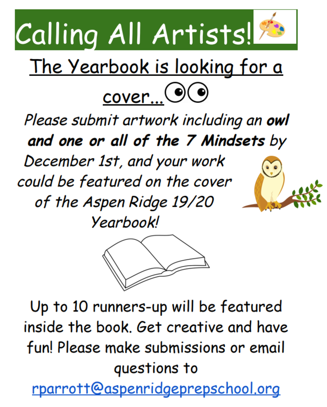 Flyer about needing a cover for the yearbook