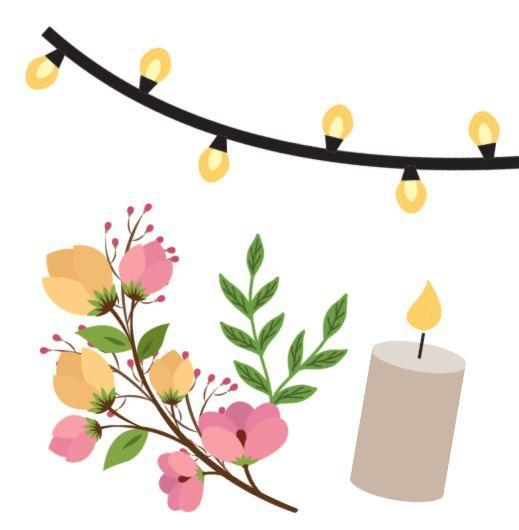 Strand of lights, a flower garland, and a candle