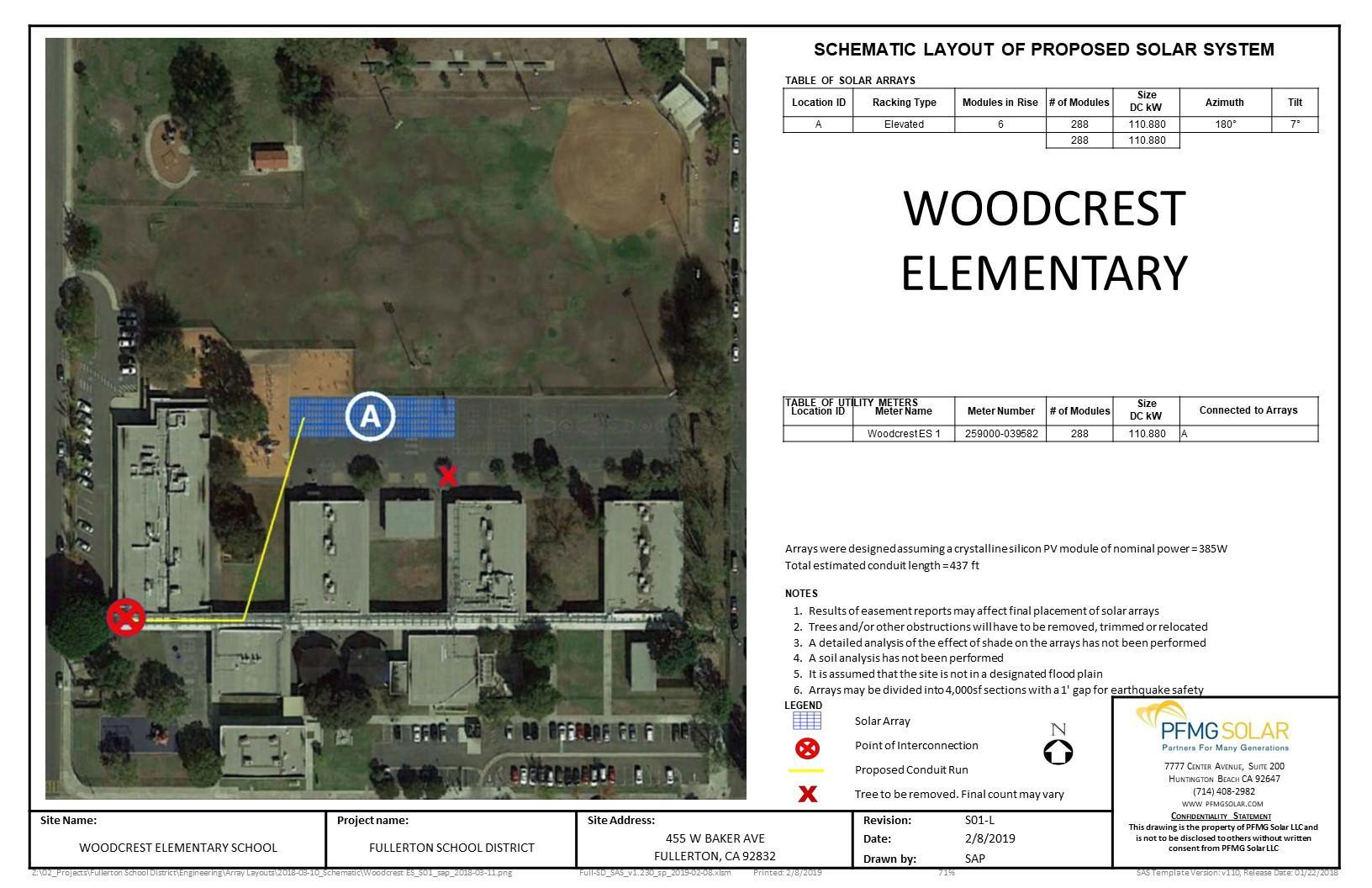 Woodcrest Elementary Schematic Layout of Proposed Solar System