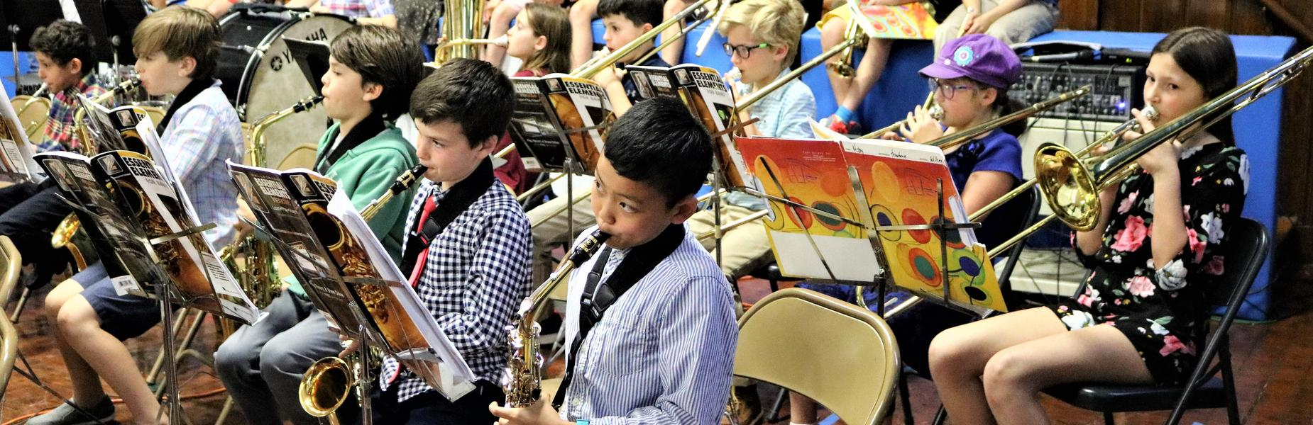 Photo of 4th graders performing in Wilson School Spring Band Concert on May 7, 2019.