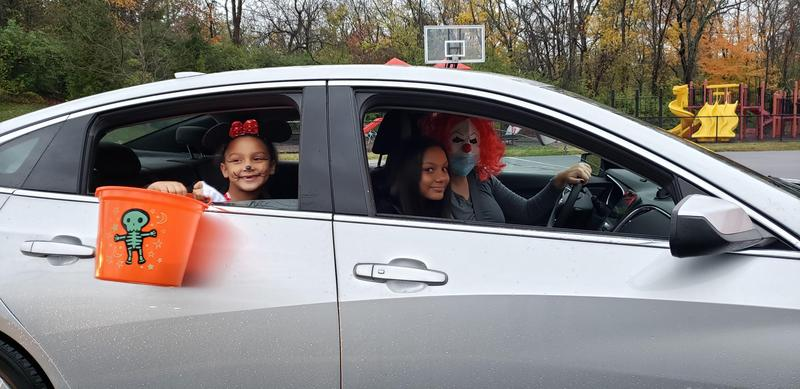 kids dressed up for Halloween parade