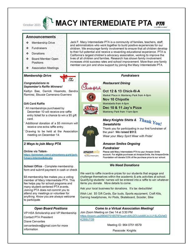 PTA October Newsletter