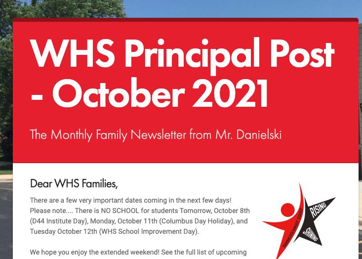 Principal Post Family Newsletter- October 2021 Thumbnail Image
