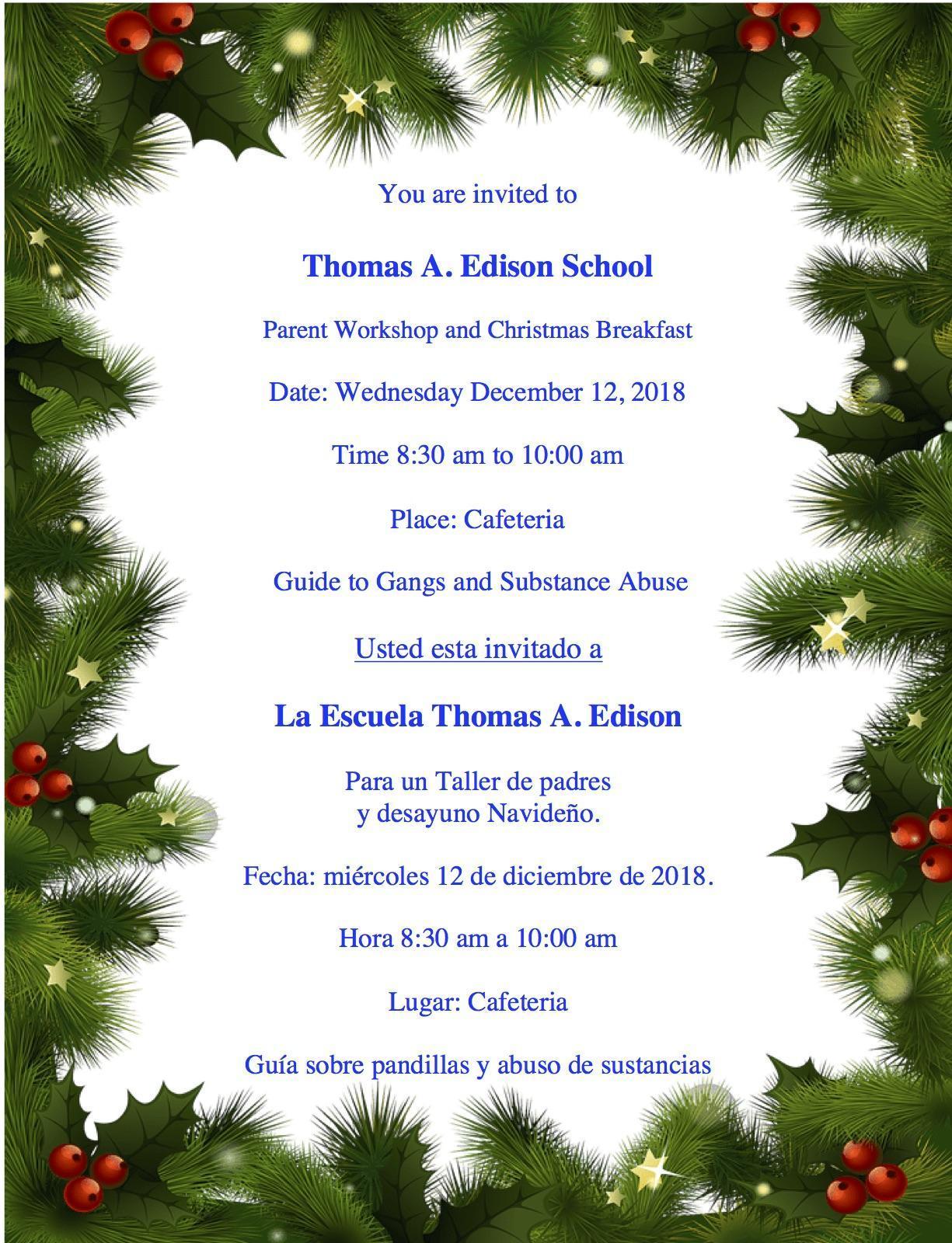december parent breakfast workshop