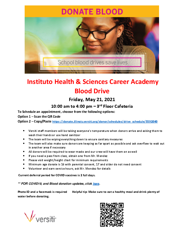 IHSCA Hosting Blood Drive May 21st! Sign Up To Donate! Featured Photo