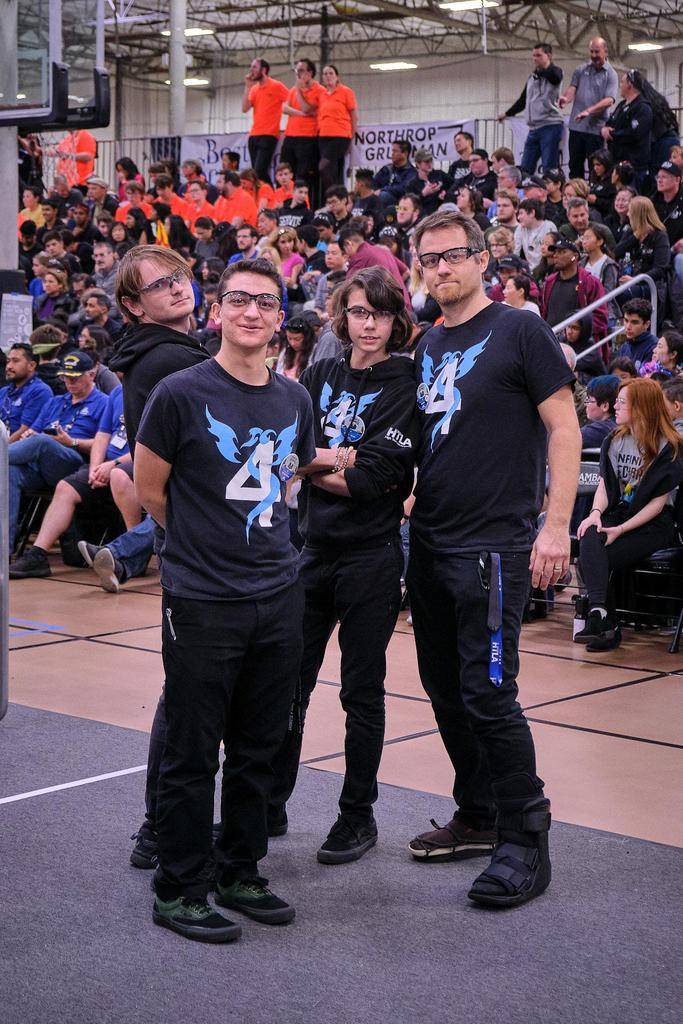 2020 drive team (L-R): Matthew (operator), Greg (human player), Luka (driver), Mr. B (coach)