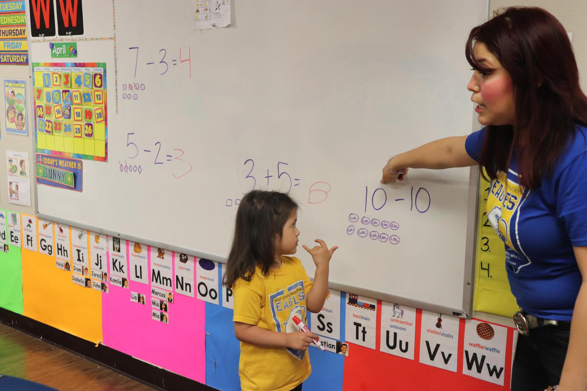 PreK teacher teaching math