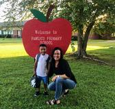 Son with mom on first day of school