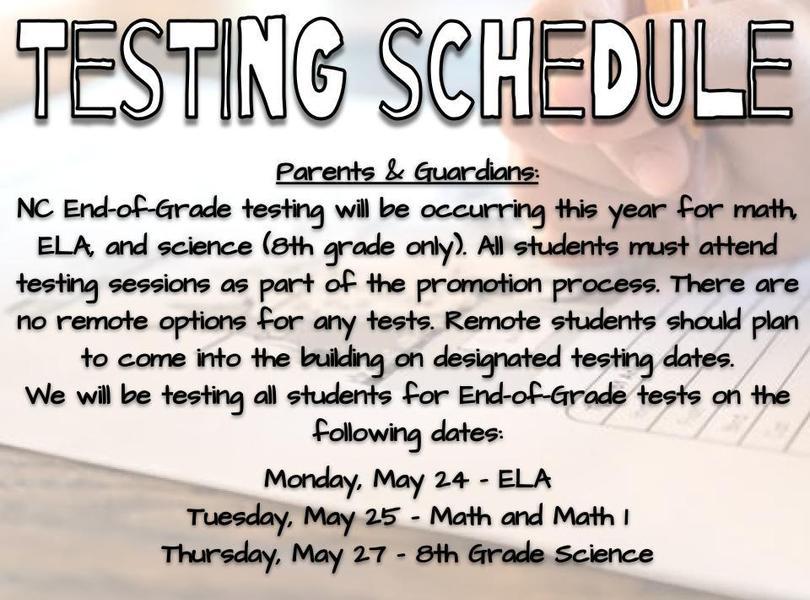 Testing Schedule 2020-2021