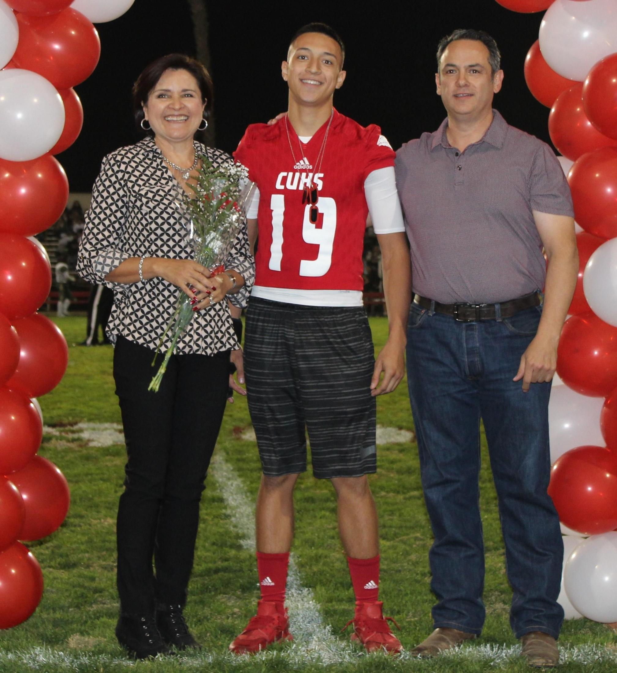 Sebastian Dominic Villarreal and his supporters at Senior Night.