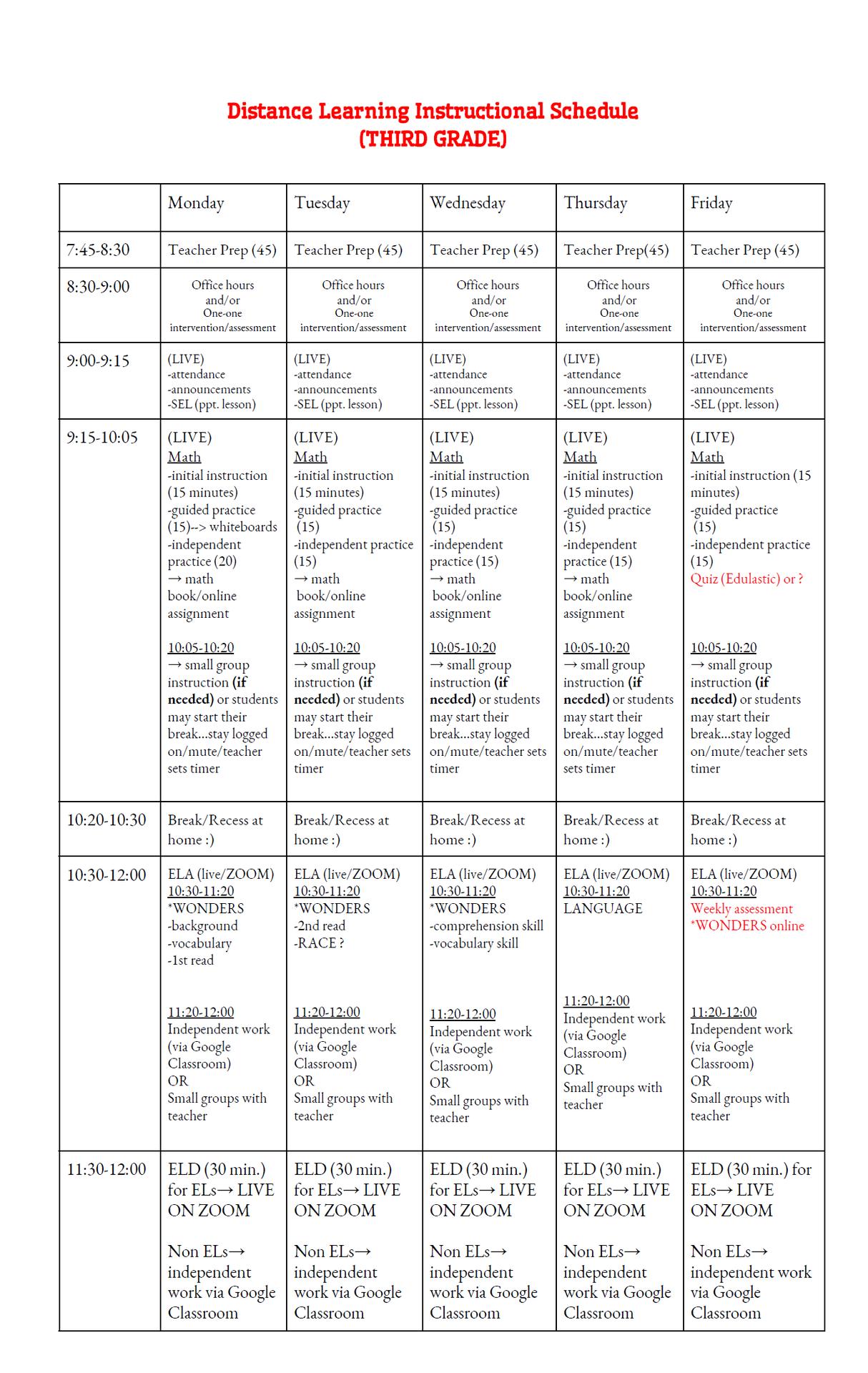 3rd-grade Schedule 2020