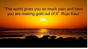Rupi Kaur over sunset